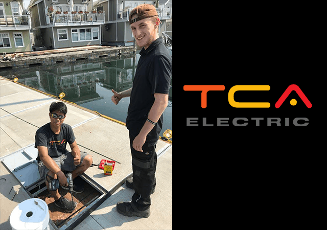 TCA Electric electricians at work on a North Vancouver marina.